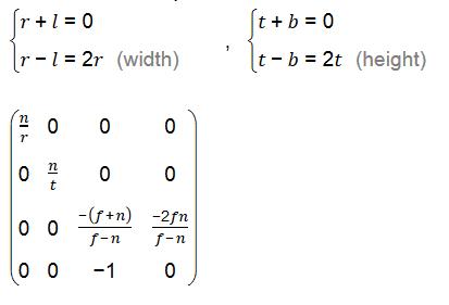 透视投影变换矩阵